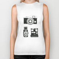 cameras Biker Tanks featuring Three cameras. by WEUSEDTODANCE