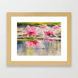 Passion Pink Lotus Flowers Framed Art Print