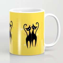 Sunshine Spectacular Atomic Age Black Kitschy Cats Coffee Mug