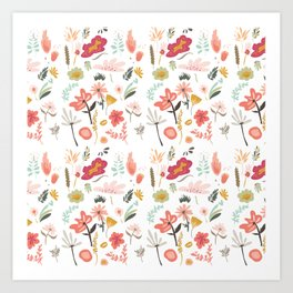 Hand painted pastel pink coral green floral illustration Art Print