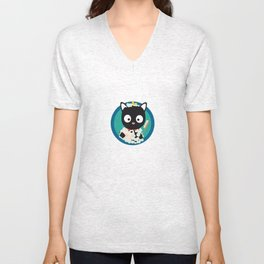 Bathing Cat with bath foam Unisex V-Neck