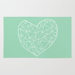 Abstract Heart Mint Rug