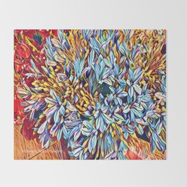 Blues Bouquet with Yellow and Red Throw Blanket