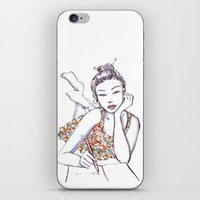writing iPhone & iPod Skins featuring Woman Writing by Stevyn Llewellyn