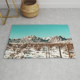 Vintage Desert Fence // Red Rock Canyon Winter Snow Mountain Range Landscape Photograph Rug