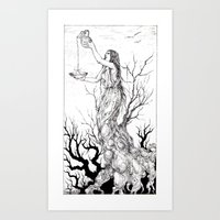 tarot Art Prints featuring Tarot - Temperance by Zsofia Dome