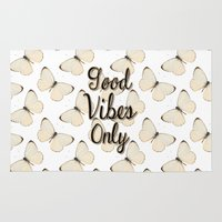 good vibes only Area & Throw Rugs featuring Good Vibes Only by Pati Designs