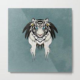Tribal Tiger - White Metal Print