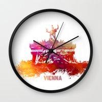 vienna Wall Clocks featuring Vienna skyline by jbjart
