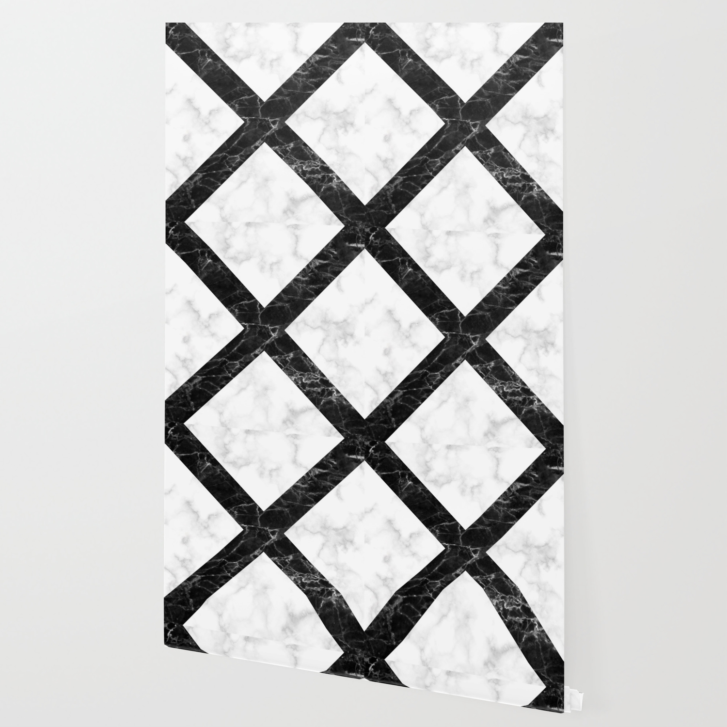 Marble Cross Pattern White Marble Black Marble Wallpaper