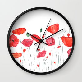 red and orange poppy field Wall Clock