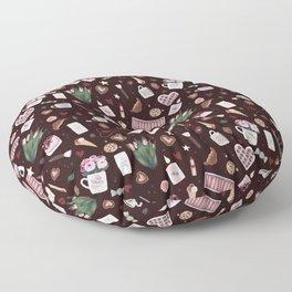 Burgundy Valentine Pattern Floor Pillow