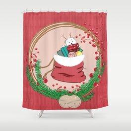 Polar Bear Cub Peeking at Santa's Bag Shower Curtain