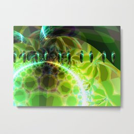 Dawn of Time – Abstract Lime & Gold Emerge Metal Print