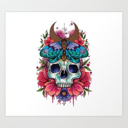 Neo Traditional Patterned Moth and Skull Art Print