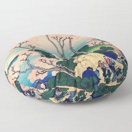 Goten-Yama Hill, Shinagawa on the Tokaido by Katsushika Hokusai Floor Pillow