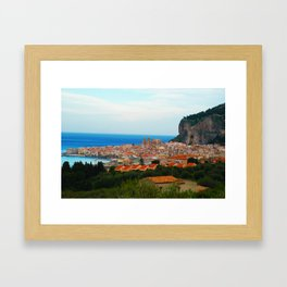 Cityscape of Cefalu Italy Framed Art Print