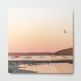 Pink Sunset Over the Harbor Metal Print