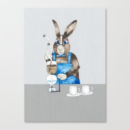 Rabbit brewing coffee with siphon Canvas Print