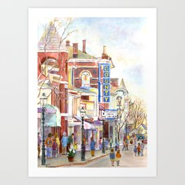 Matinee, County Theatre, Doylestown, Pennsylvania. Watercolor painting by Pamela Parsons. Art Print