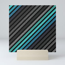 stripeS : Slate Gray Teal Blue Pixels Mini Art Print