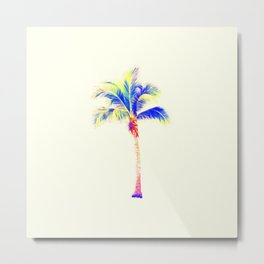 Palm Tree Neon, Cream Metal Print