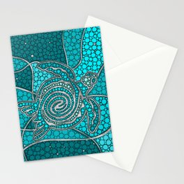 Turtle Aboriginal Dot Art Teal and silver Stationery Cards
