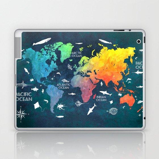 Ocean World Map Color Map Worldmap Laptop Ipad Skin By Jbjart