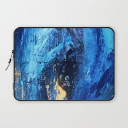 Vortex: a vibrant, blue and gold abstract mixed-media piece Laptop Sleeve