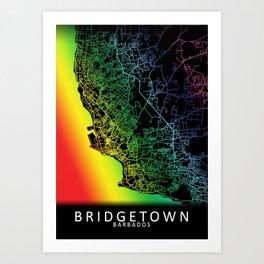 Bridgetown, Barbados, City, Map, Rainbow, Map, Art, Print Art Print
