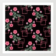 Red ,pink flowers on black background with decorative elements. Art Print