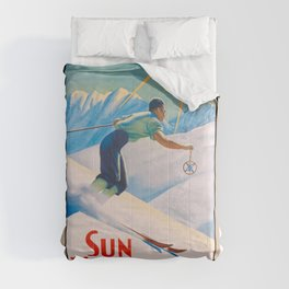 1940 Sun Valley Union Pacific Poster Comforters
