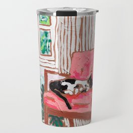 Little Naps - Tuxedo Cat Napping in a Pink Mid-Century Chair by the Window Travel Mug