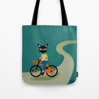 cycling Tote Bags featuring Cycling by BATKEI