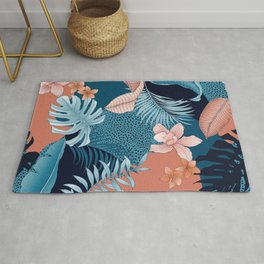 TROPICAL PATCHWORK PRINT IN NAVY & CORAL Rug