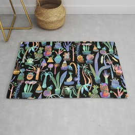 Nocturnal lush garden - Dreamy cacti and succulents plants Rug