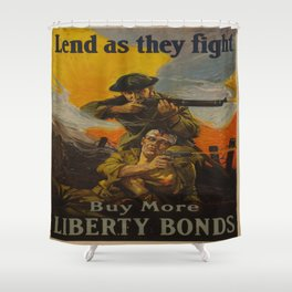 Vintage poster - Lend as They Fight Shower Curtain