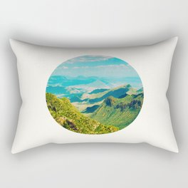 Mid Century Modern Round Circle Photo Graphic Design Vintage Pastel Green Mountain Valley Rectangular Pillow