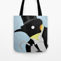 penguin Tote Bags featuring Penguin by Chase Kunz