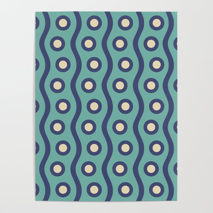 Mid Century Modern Rising Bubbles Pattern Turquoise and Blue Poster