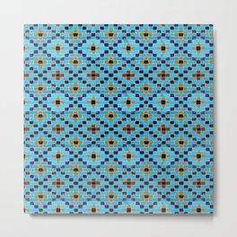 Persian Mosaic Geometric Turquoise Tile Pattern Metal Print