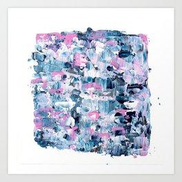 Modern pink blue hand painted acrylic brushstrokes Art Print