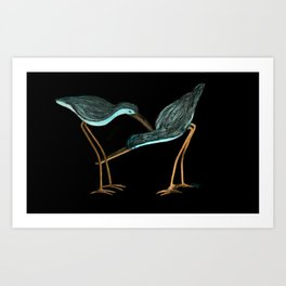Sandpipers in Teal Blue Art Print