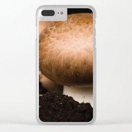 Mushroom in the soil Clear iPhone Case