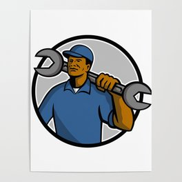 African American Mechanic Mascot Poster