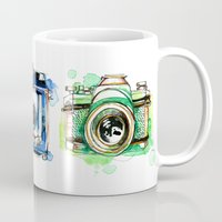 cameras Mugs featuring Vintage Cameras by Abby Diamond