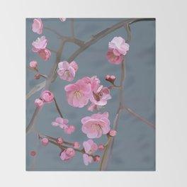 painted plum blossom green grey Throw Blanket