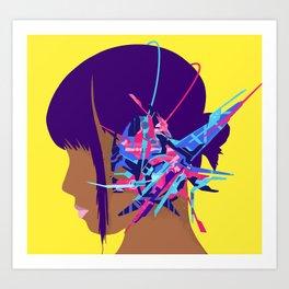 Cyberpunk Girl Music Art Print