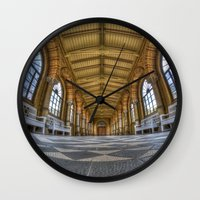 religion Wall Clocks featuring Enter religion  by Cozmic Photos