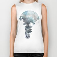 navy Biker Tanks featuring Secret Streets II by David Fleck